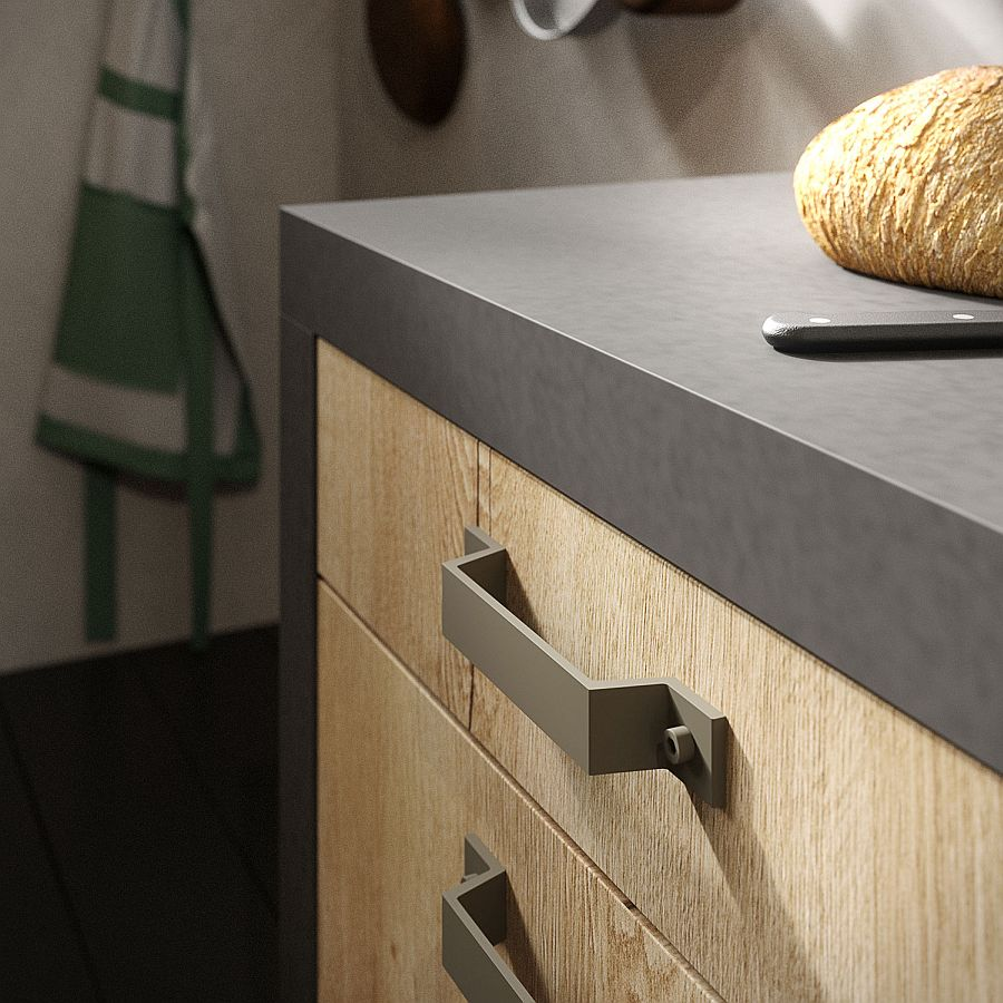 Peltro-finished Nolita handle gives LOFT Kitchen its trademark style