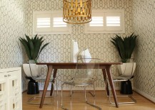 Perfect wallpaper choice for small midcentury dining room