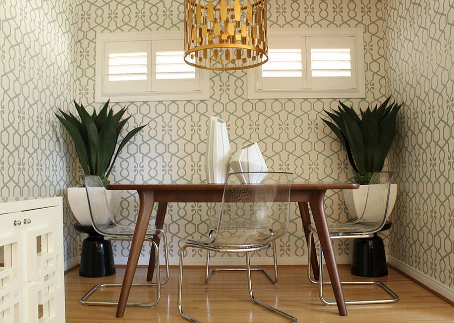 ... Perfect Wallpaper Choice For Small Midcentury Dining Room [Design:  Squarefoot Interior Design]