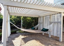 Pergola offers ample shade for hammock hangout