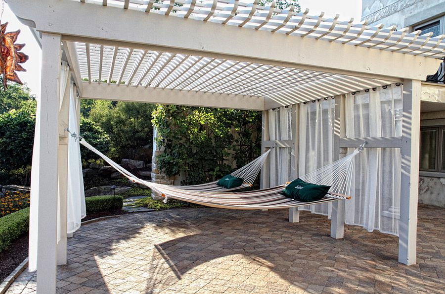 Pergola offers ample shade for hammock hangout [Design: Beall's Nursery & Landscaping]