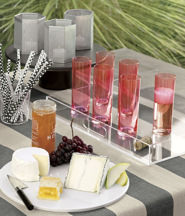 Pink cylinder champagne flutes from CB2