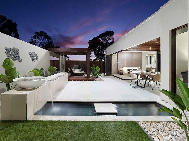 Plunge pool turns into an aesthetic delight in this contemporary landscape [Design: BLADE Landscape Design]