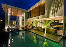 Pool and deck space of the home can be accessed from almost every living zone