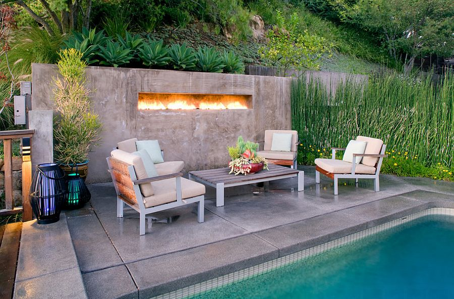 Poured concrete deck for the small pool [Design: JWT Associates]