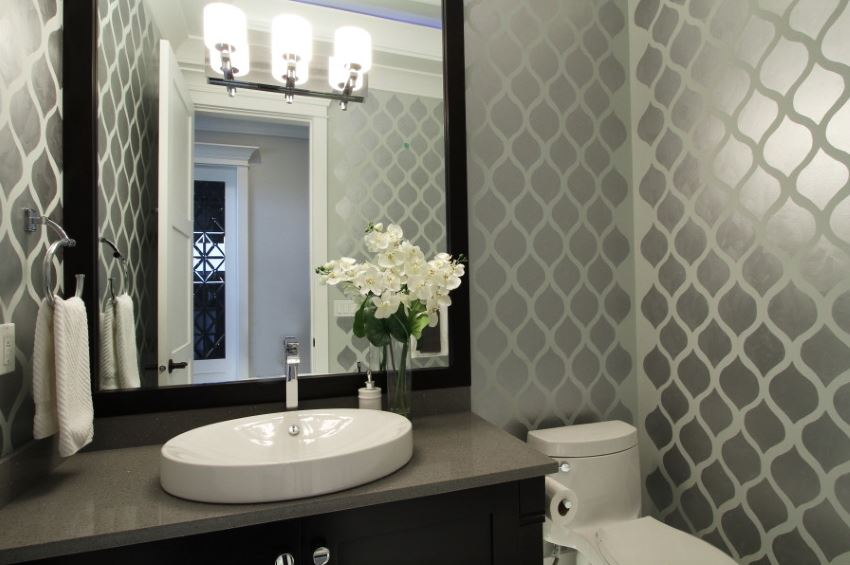 Powder room with painted walls