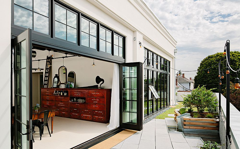 Private deck of the Portland home with a hint of greenery