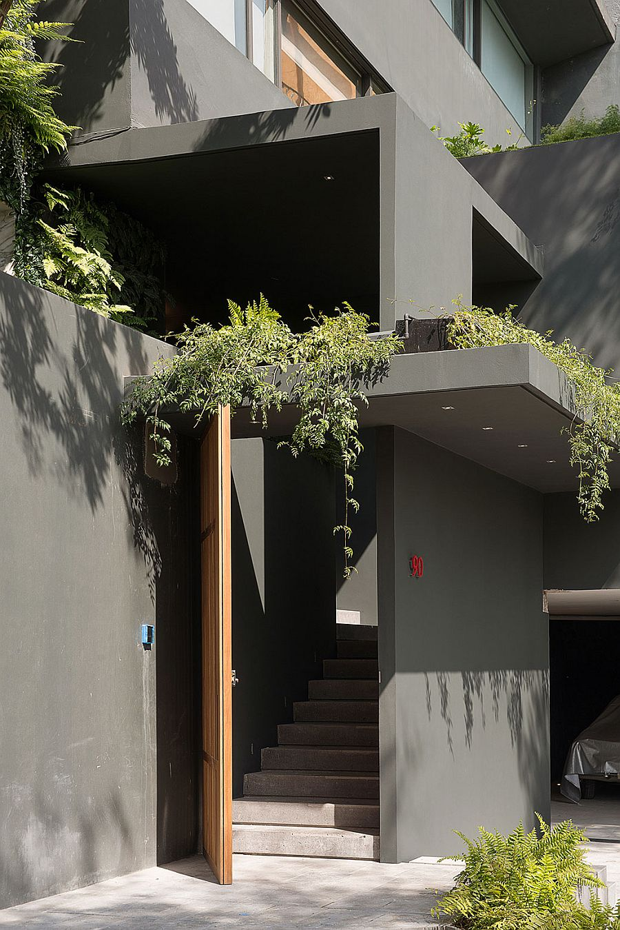 Private entrance to the stylish Barrancas House in Mexico City