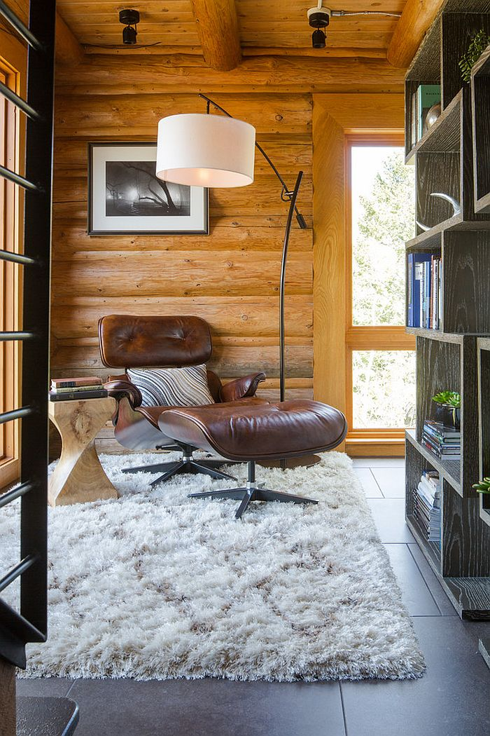 Reading nook combines the rustic with the contemporary [Design: David Angello]