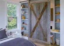 Reclaimed barn wood door for the bedroom shelf and office nook