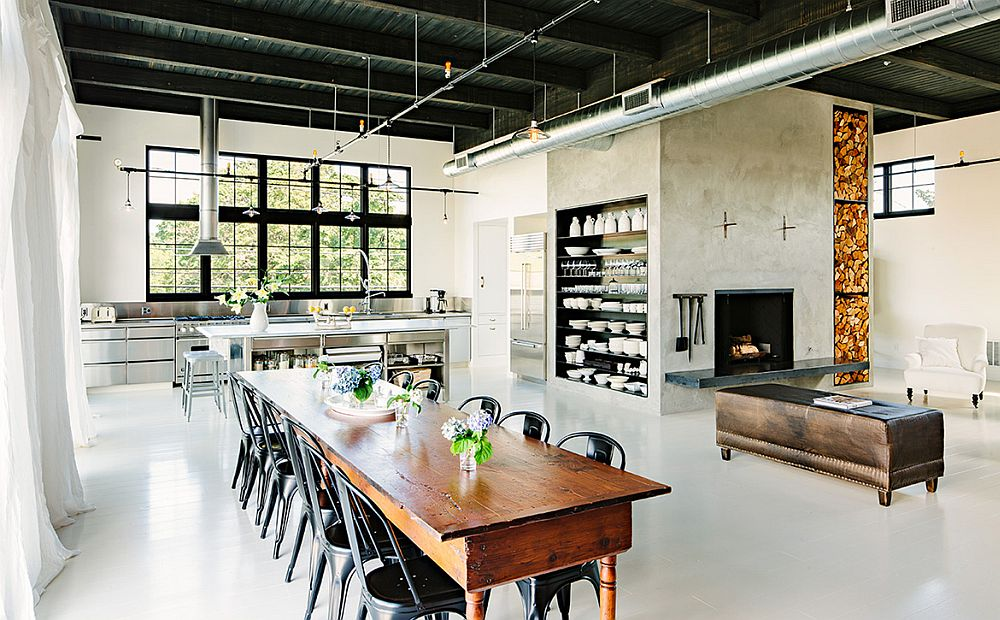 Reclaimed furniture adds to the classic, timeless look of the interior