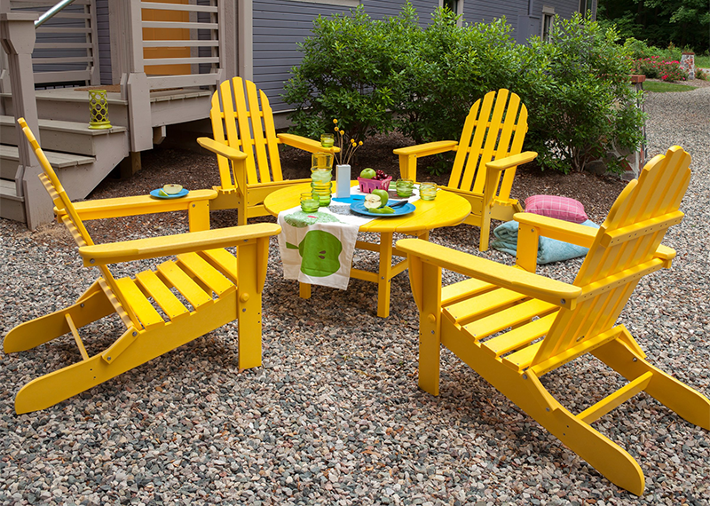 View In Gallery Recycled Plastic Adirondack Chairs In Yellow