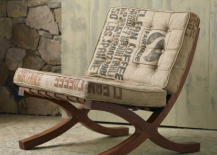 Recycled Sack Chair with Wooden Frame