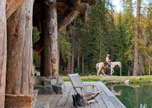 Relaxing porch of the Headwaters camp cabin exudes umatched rustic beauty