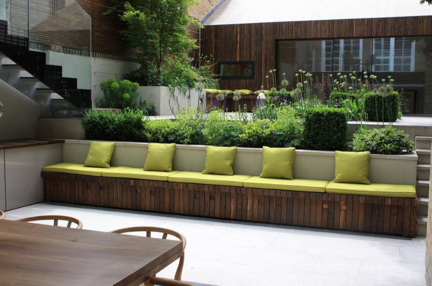 Residential garden with an assortment of green plants