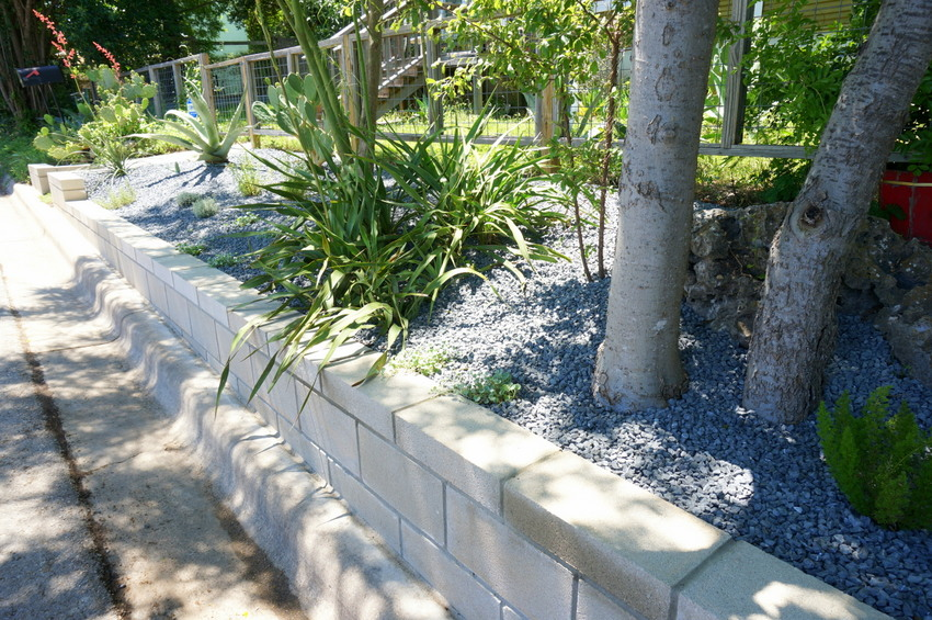 Retaining wall project with modern landscaping