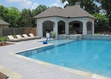 Salt rock texture stamped concrete shapes the cool pool deck