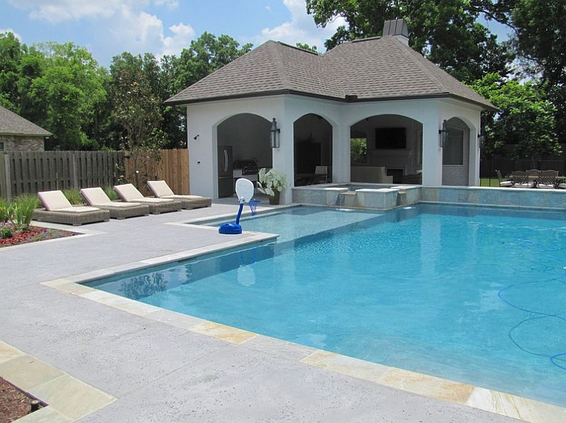 Salt rock texture stamped concrete shapes the cool pool deck [Design: Nu-Crete Designs]