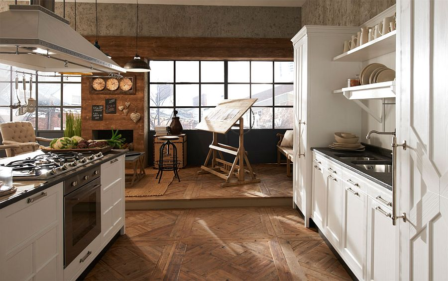 Seamless combination of the sitting and kitchen spaces by Marchi's Kreola