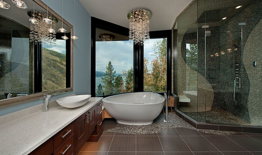 Shower area and hot tub allow you to enjoy the view outside