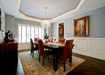 Silvery blue walls and ceiling for the traditional dining room