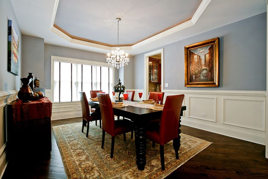 Silvery Blue Walls And Ceiling For The Traditional Dining Room Design Oakley Home Builders