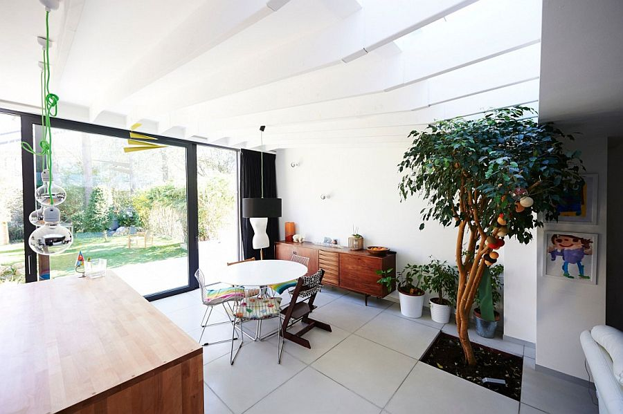 Skylights bring in natural ventilation for the indoor plant