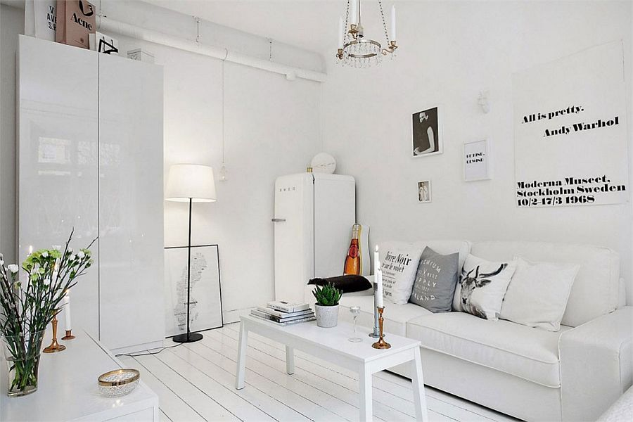 Sleek and cozy modern decor for the small Scandinavian apartment