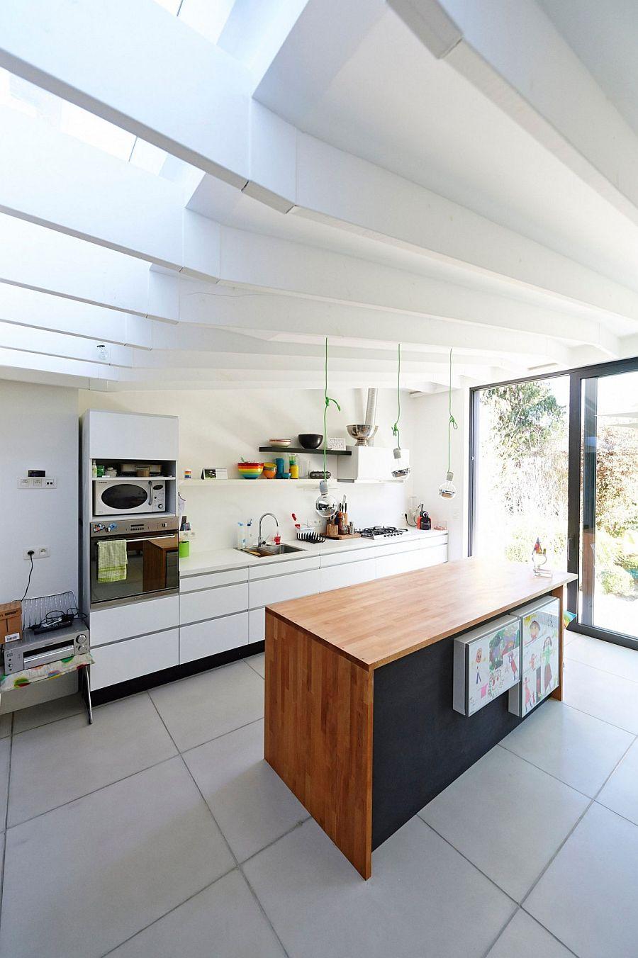 View In Gallery Sleek Kitchen Workstation In White And Wooden Island