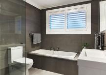 Sleek, modern bathroom in gray and white