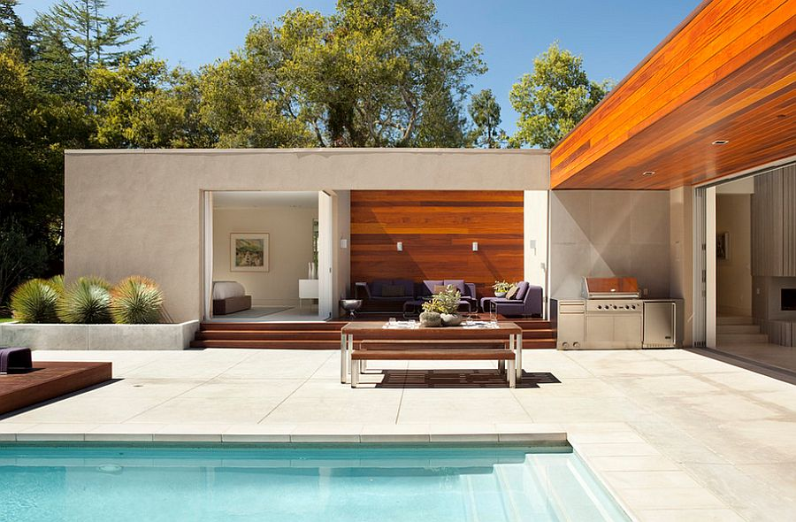 Slip-resistant concrete pool deck is perfect for wet environments [Design: Dumican Mosey Architects]