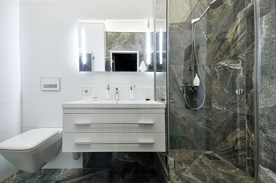 Small bathroom in white and natural stone