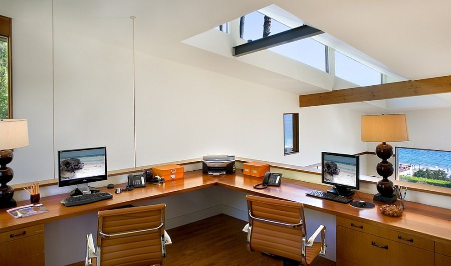20 trendy ideas for a home office with skylights Corner home office design ideas