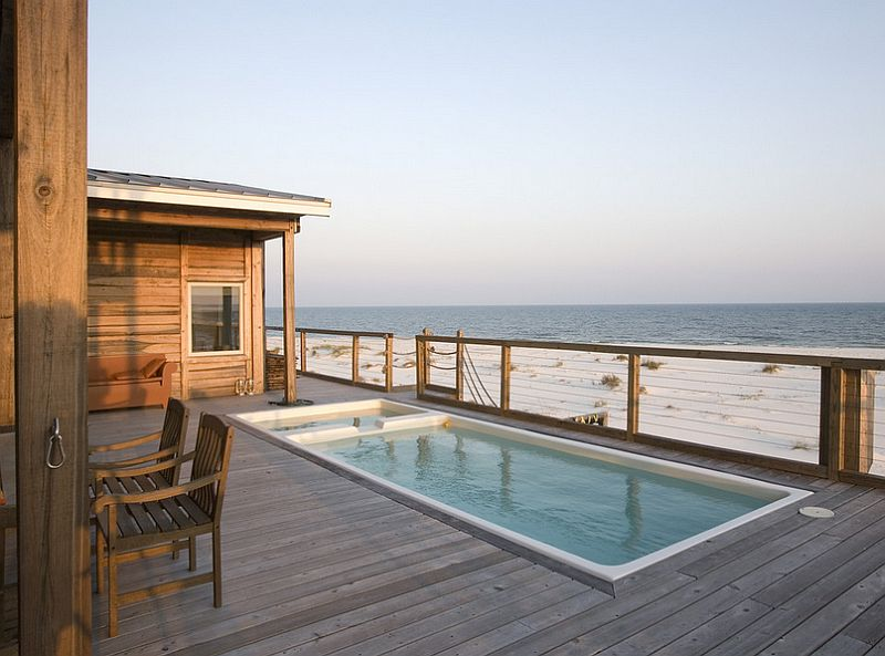 Small oceanview pool on the deck shapes a relaxing retreat [Design: Habitat Post & Beam]
