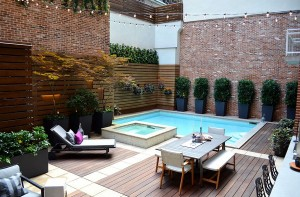 Small pool garden charms iwth its trendy, contemporary style