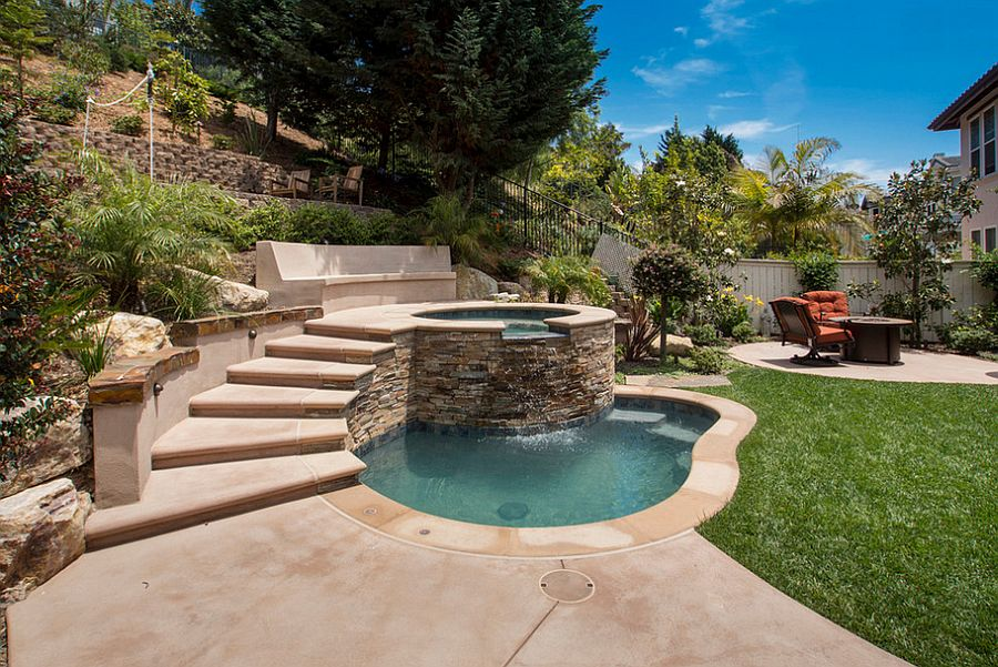... Small pool with Jacuzzi steals the show [Photography: Andrea Calo] - 23+ Small Pool Ideas To Turn Backyards Into Relaxing Retreats