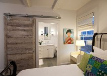Smart barn door saves up space in the small bedroom