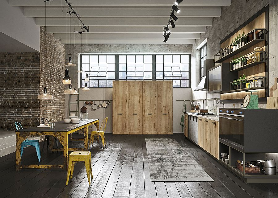 Smart materials and unique finishes give this urban kitchen an aged, industrial look