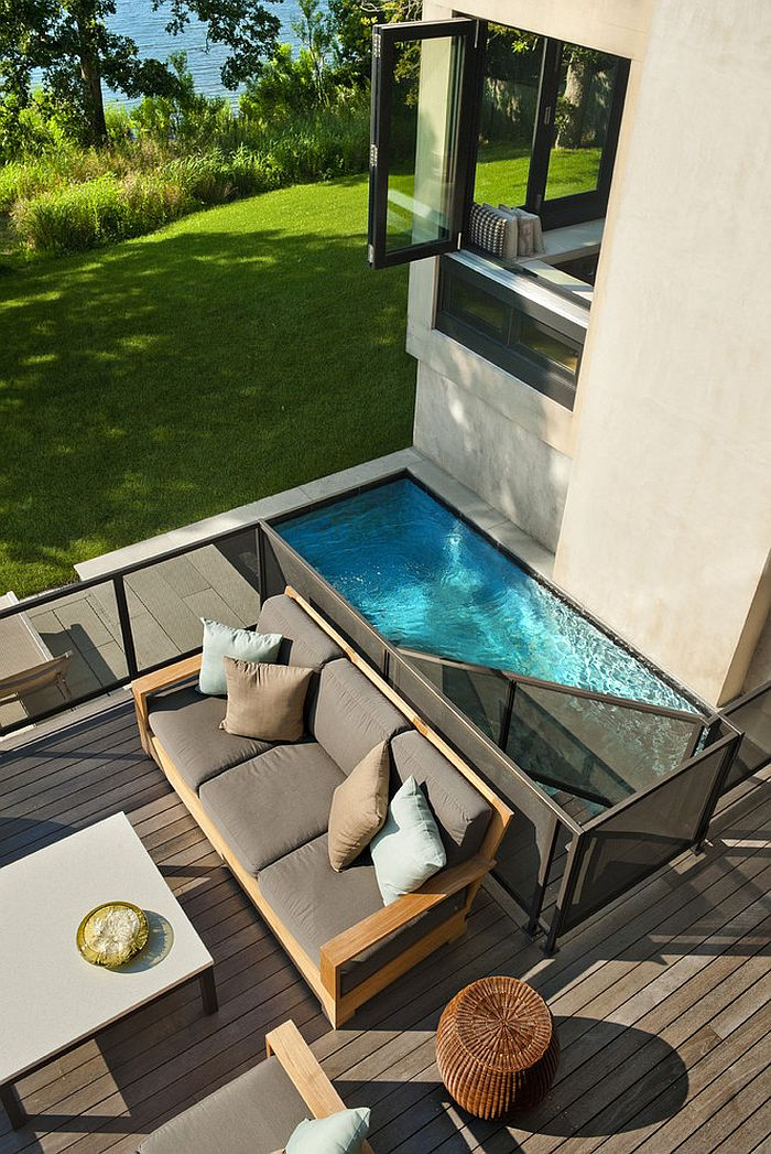 Swimming Pool Designs For Small Yards ... Smart pool and deck design makes use of available space [Design:  Blazemakoid-Architecture