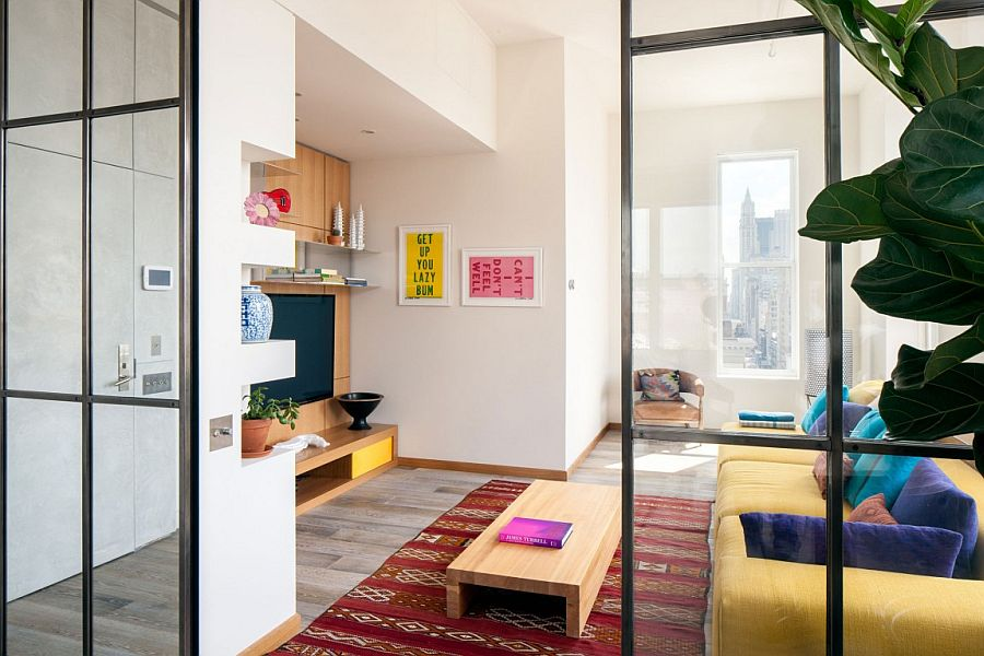 Smart use of glass partitions inside the trendy Broadway home
