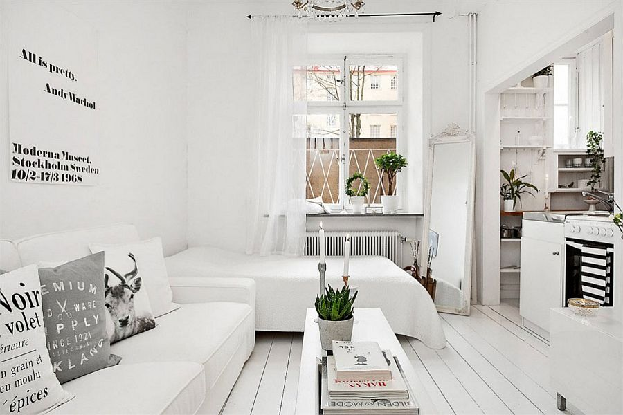 20 sqm apartment in stockholm with scandinavian design. Black Bedroom Furniture Sets. Home Design Ideas