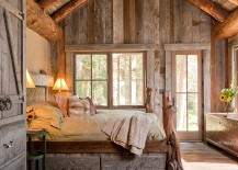 Snug rustic bedroom with custom design