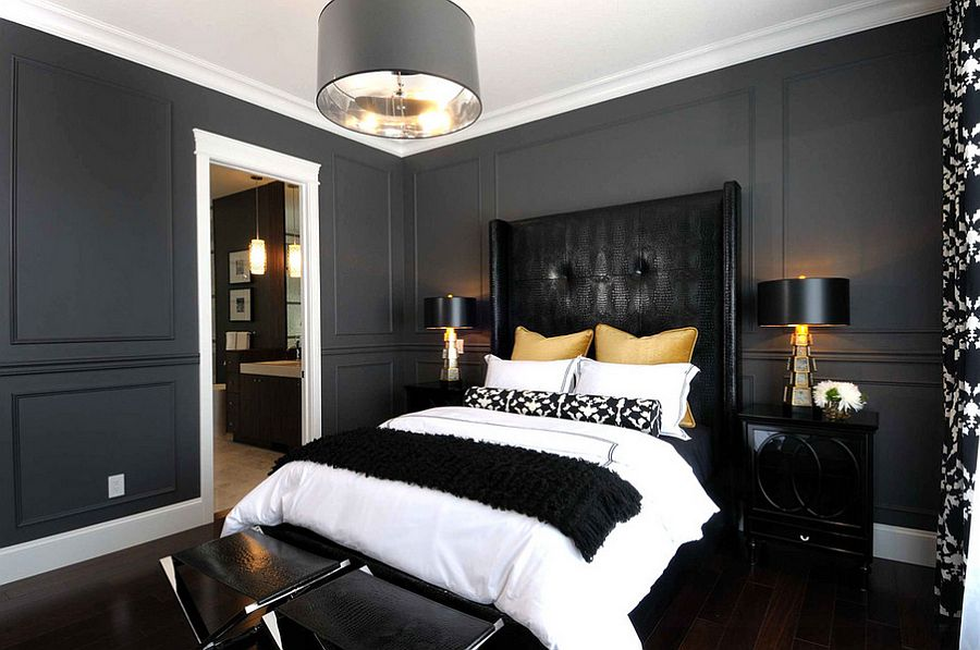 Sophisticated use of black, gold and gray in the bedroom