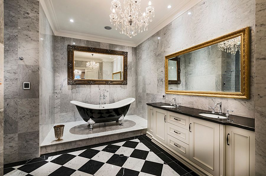View In Gallery Sparkling Chandelier For The Black And White Bathroom  [Design: Oswald Homes]