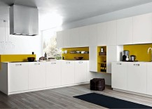 Splashes of yellow add liveliness to the contemporary kitchen 217x155 Kora: Trendy Kitchen Charms with Functional Design and Modularity