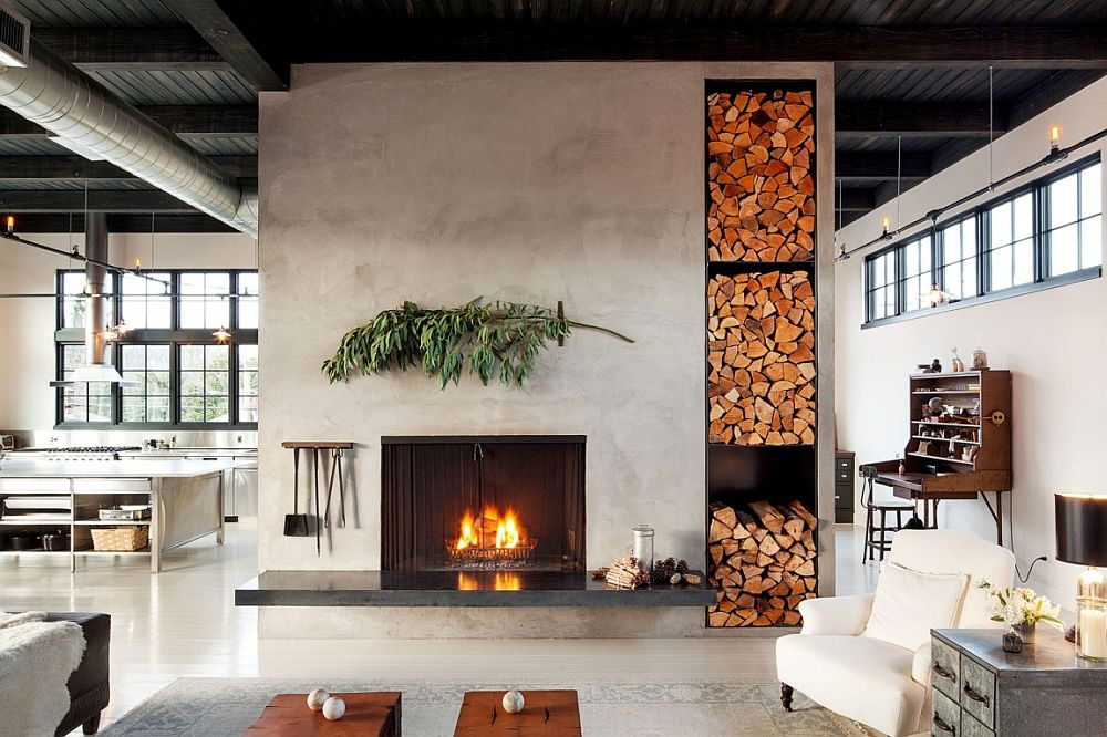 Stacked firewood doubles as an artistic addition in the living area