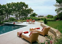 Stamped concrete offers both style and texture to the pool deck