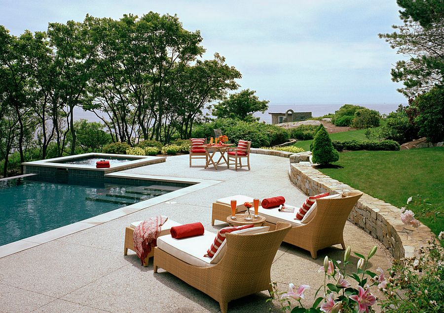 Stamped concrete offers both style and texture to the pool deck [Design: Siemasko + Verbridge]