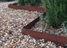 Steel edging provides a modern garden border