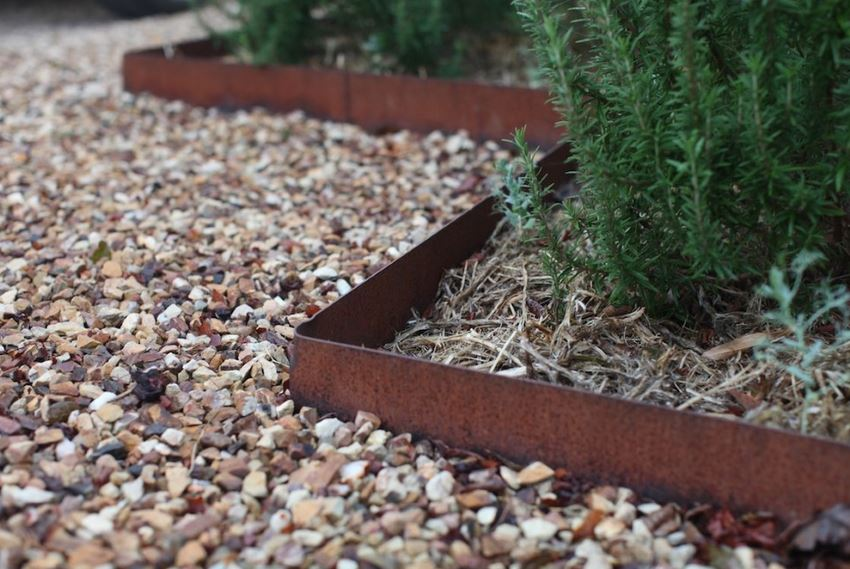 Steel edging provides a modern garden border